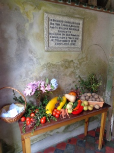 It was harvest festival time whilst we were on Tresco, so I went along to the service at St Nicholas Church on Sunday morning to see the wonderful display of produce provided by the Kitchen Garden at Tresco Abbey Garden.