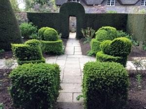White Garden with Topiary Birds