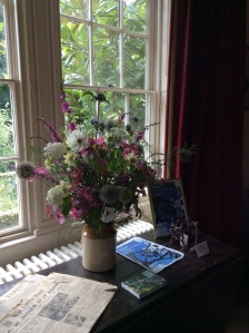A late summer arrangement using many different species of Hydrangea, Phlox, Comsos, Clematis, Echinops, Cephalaria, Asparagus, and some things I still don't recognize.