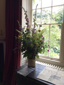 An early summer arrangement with Phlomis, Aruncus, Lamium, Geranium, Clematis, and much more!