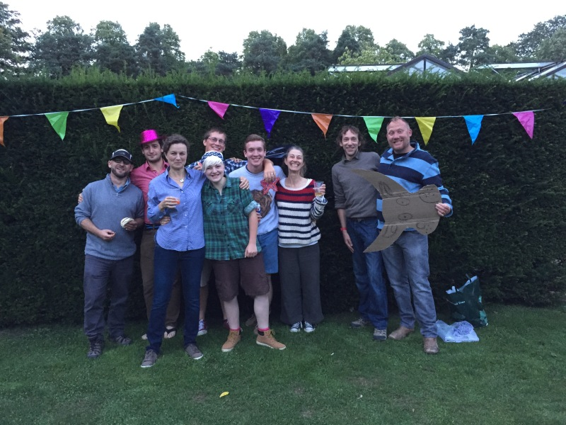 Some of the gardening group at our leaving party. There was a relay race where we had to eat traditional English dishes, lasso a bull, and complete a wheelbarrow race. Add in great items from the barbeque: it was a great evening.