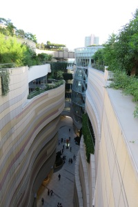A view through Namba Parks, a shopping complex, that provides a hanging gardens of Babylon feel, has eight gardeners of its own and was designed with help from Tomoko-san herself on many of the plantings.