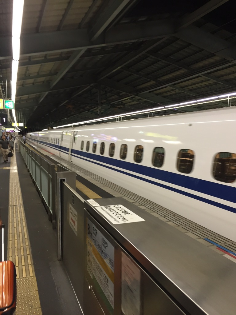 The bullet train, called a Shinkansen, arriving at the station. Not only is it incredible to see how fast it moves, but also to see how short of a period of time it stops at each station!