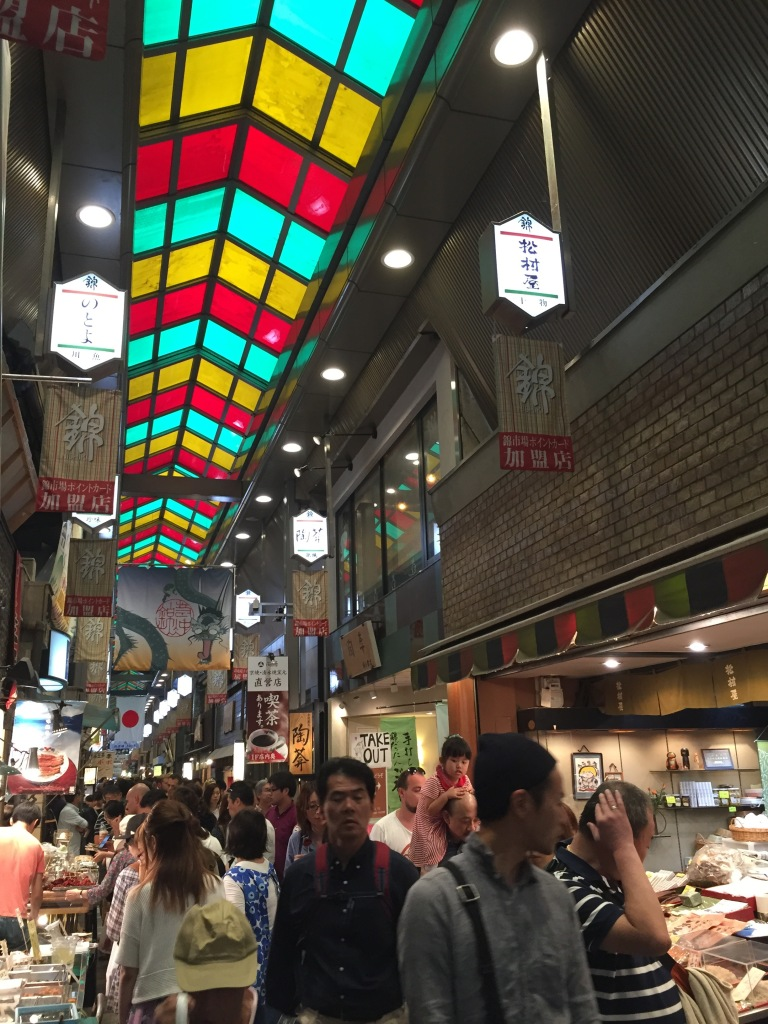 Food market in Kyoto called Nishiki-koji that sells food products ranging from local to exotic; all very fresh
