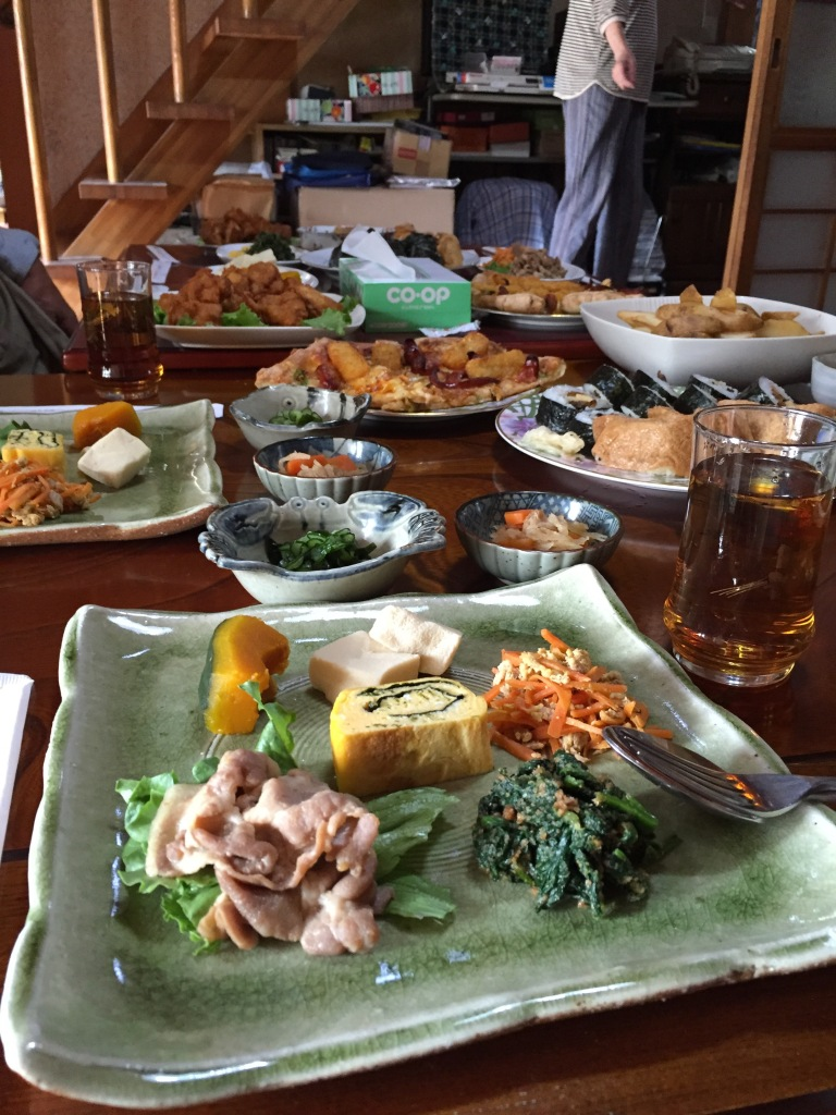 After the rice harvest we were invited to partake in the family meal. They made it a fusion of Japanese and American food items. Incredible lunch and very kind of Fudano-sensai's family. Thank you again!