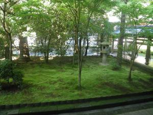 A much more verdant viewing garden, at Ryoanji Temple, provides a serene and distinctly different atmosphere to observe.