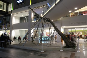 Even this art installation at the Kobe Mall reinterprets an ancient tree.