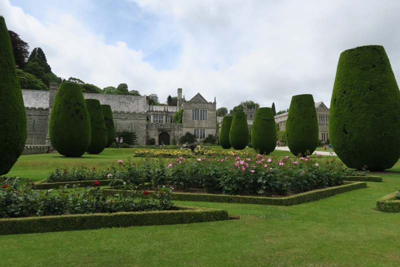 Families sat and shared food amoungst the parterres at Lanhydrock