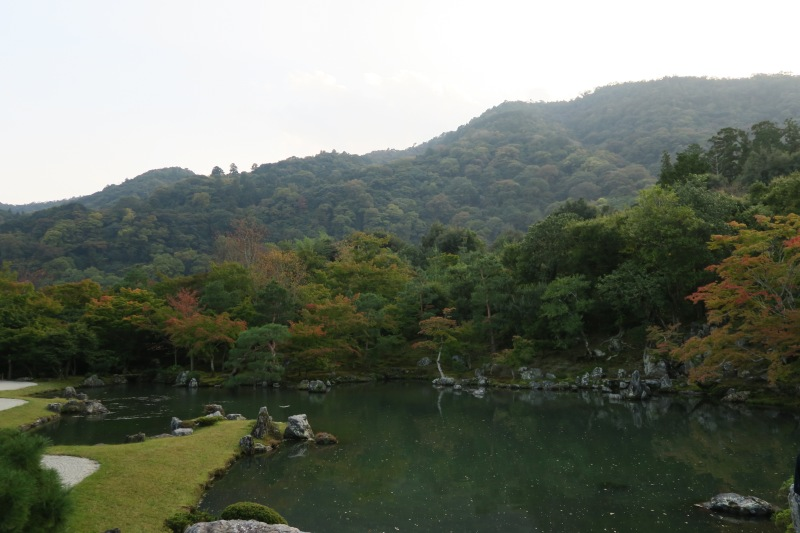 The garden at Tenryu-ji faces this mountain backdrop that brings you away from the city behind it