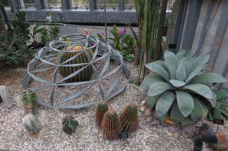 This metal sculpture mimics the geometric habits of many cacti and succulents.