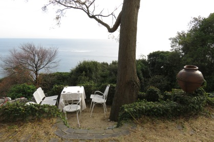 With a rustic touch, this small terrace had quite a view. On a clear day, you can see the many fisherman and seaweed farms.